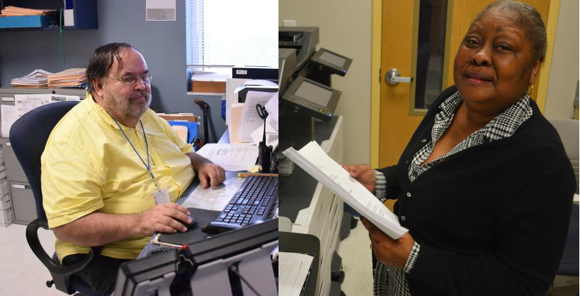 On the left, a man in a yellow shirt with glasses sitting at a desk in front of a computer. On the right, a woman smiling at the camera while holding a piece of paper.