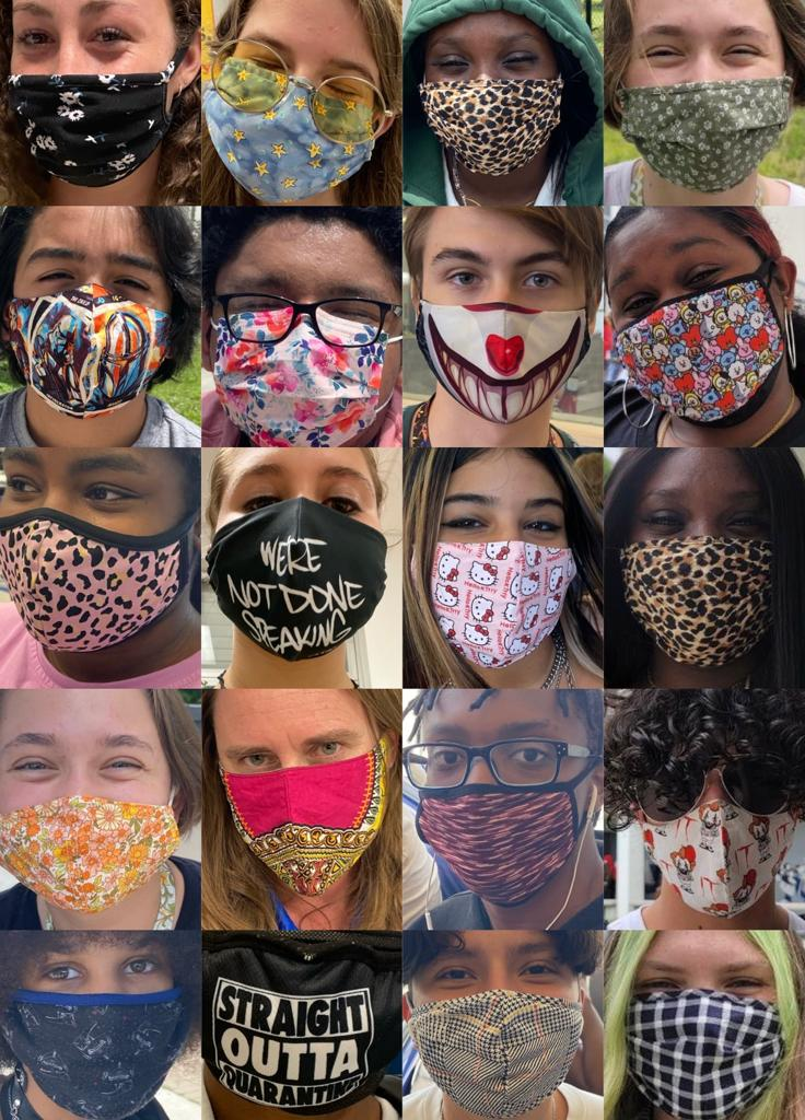 A grid collage of various FLHS students wearing unique patterned masks.